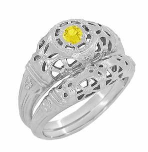 Art Deco Filigree Yellow Sapphire Ring in 14 Karat White Gold - Item R428WYES - Image 5