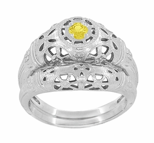 Art Deco Filigree Yellow Sapphire Ring in 14 Karat White Gold - Item R428WYES - Image 6