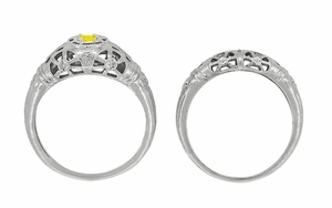 Art Deco Filigree Yellow Sapphire Ring in 14 Karat White Gold - Item R428WYES - Image 8