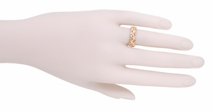 Filigree Calla Lilies Wedding Band in 14 Karat Rose Gold - Click to enlarge