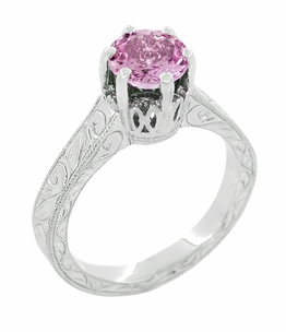 Art Deco Crown Filigree Scrolls 1 Carat Pink Sapphire Engraved Engagement Ring in Platinum - Click to enlarge