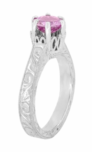 Art Deco Crown Filigree Scrolls 1 Carat Pink Sapphire Engraved Engagement Ring in Platinum - Item R199PPS - Image 3
