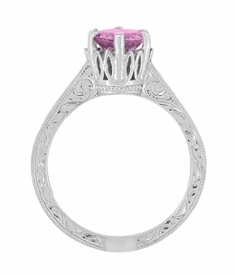 Art Deco Crown Filigree Scrolls 1 Carat Pink Sapphire Engraved Engagement Ring in Platinum - Item R199PPS - Image 5