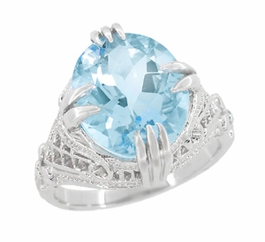 Art Deco Filigree Engraved Oval Blue Topaz Ring in Sterling Silver - Click to enlarge
