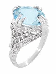 Art Deco Filigree Claw Prong Oval Blue Topaz Statement Ring in Sterling Silver - Item SSR157BT - Image 2