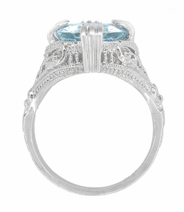 Art Deco Filigree Engraved Oval Blue Topaz Ring in Sterling Silver - Item SSR157BT - Image 3