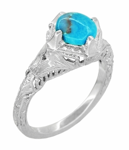 Art Deco Turquoise Engraved Filigree Ring in Sterling Silver - Item SSR161TQ - Image 1