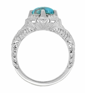 Art Deco Turquoise Engraved Filigree Ring in Sterling Silver - Click to enlarge
