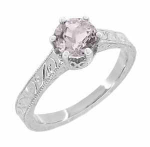 Art Deco Crown Filigree Scrolls Rose de France Engagement Ring in Sterling Silver - Click to enlarge