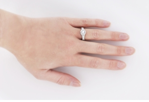 Art Deco Filigree Flowers and Scrolls Engraved 1/2 Carat Diamond Engagement Ring Setting in 18 Karat White Gold - Item R990W18NS50 - Image 4