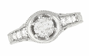 Art Deco Filigree Flowers and Scrolls Engraved 1 Carat Diamond Engagement Ring Setting in 18 Karat White Gold - Item R990W18NS1 - Image 1