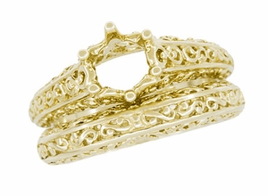 Filigree Flowing Scrolls Wedding Ring in 14 Karat Yellow Gold - Item WR1196Y - Image 7