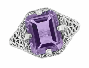 Art Deco Flowers and Leaves Emerald Cut Lilac Amethyst Filigree Ring in Sterling Silver - Item SSR16A - Image 2