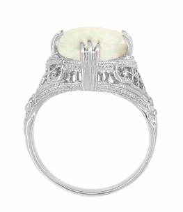 Art Deco White Opal Filigree Ring in 14 Karat White Gold - Click to enlarge