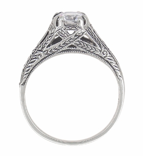 Art Deco White Topaz Filigree Engraved Engagement Ring in Sterling Silver - Item SSR2WT - Image 3