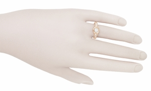 Art Deco Filigree Flowers and Scrolls 1/2 Carat Diamond Engraved Engagement Ring in 14 Karat Rose Gold - Click to enlarge