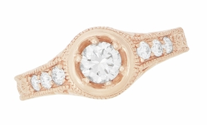 Art Deco Filigree Flowers and Scrolls 1/2 Carat Diamond Engraved Engagement Ring in 14 Karat Rose Gold - Item R990R50D - Image 1