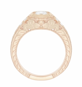 Art Deco Filigree Flowers and Scrolls 1/2 Carat Diamond Engraved Engagement Ring in 14 Karat Rose Gold - Item R990R50D - Image 3