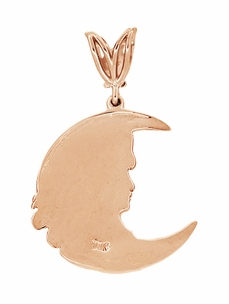 Moon Girl Art Nouveau Diamond Pendant in 14 Karat Rose Gold - Item C686R - Image 1