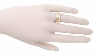 Art Nouveau Vintage Wedding Band in 14 Karat Two Tone Gold - Click to enlarge