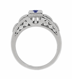 Art Deco Filigree Engraved Blue Sapphire Engagement Ring in Platinum, Antique Style Simple Low Profile Sapphire Band - Item R160PS - Image 3