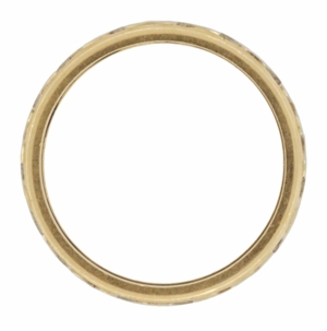 Retro Wide Vintage Wedding Band in 14 Karat White and Yellow Gold - Click to enlarge