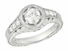 Art Deco Filigree Flowers and Scrolls Engraved 1 Carat Diamond Engagement Ring Setting in 14 Karat White Gold
