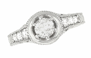Art Deco Filigree Flowers and Scrolls Engraved 3/4 Carat Diamond Engagement Ring Setting in 14 Karat White Gold - Click to enlarge