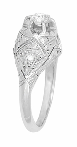 Filigree Ridgebury Vintage Art Deco Diamond Platinum Engagement Ring - Item R1048 - Image 2