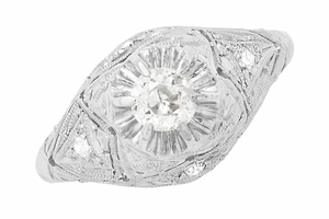Filigree Ridgebury Vintage Art Deco Diamond Platinum Engagement Ring - Item R1048 - Image 4