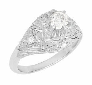 Filigree Ridgebury Vintage Art Deco Diamond Platinum Engagement Ring - Item R1048 - Image 1