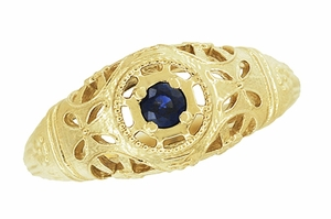 Art Deco Filigree Sapphire Ring in 14 Karat Yellow Gold - Item R335Y - Image 3