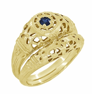 Art Deco Filigree Sapphire Ring in 14 Karat Yellow Gold - Click to enlarge