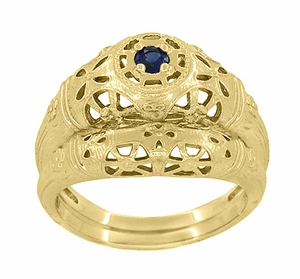 Art Deco Filigree Sapphire Ring in 14 Karat Yellow Gold - Item R335Y - Image 5