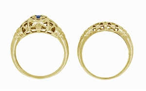 Art Deco Filigree Sapphire Ring in 14 Karat Yellow Gold - Item R335Y - Image 6