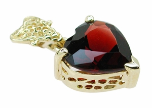 Pyrope Garnet Filigree Heart Pendant in 14 Karat Yellow Gold - Click to enlarge
