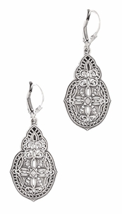 Art Deco Diamond Filigree Teardrop Dangling Earrings in Sterling Silver - Item E158 - Image 1