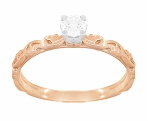 Art Deco Scrolls White Sapphire Engagement Ring in 14 Karat Rose Gold - Item R639RWS - Image 1