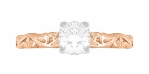 Art Deco Scrolls White Sapphire Engagement Ring in 14 Karat Rose Gold - Click to enlarge