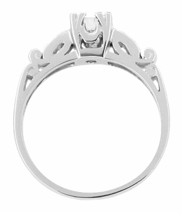 Art Deco Scrolls Vintage Diamond Engagement Ring in Platinum - Item R252 - Image 1