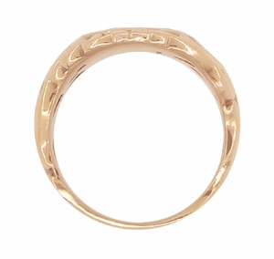 Mens Art Nouveau Oval Signet Ring in 14 Karat Rose ( Pink ) Gold - Item R883R - Image 2
