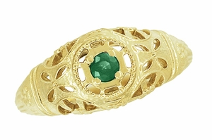 Art Deco Filigree Emerald Ring in 14 Karat Yellow Gold - Item R428YE - Image 3