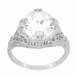 Art Deco Filigree Engraved Oval Cubic Zirconia ( CZ ) Ring in Sterling Silver - Item SSR157CZ - Image 1