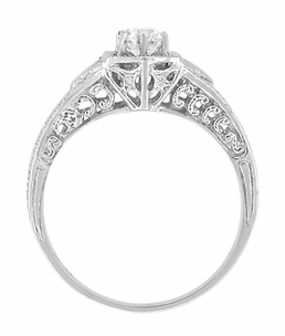 Art Deco White Sapphire Filigree Engraved Engagement Ring in Platinum - Click to enlarge