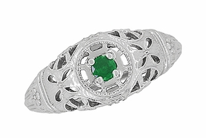 Art Deco Filigree Emerald Ring in 14 Karat White Gold - Item R428WE - Image 3