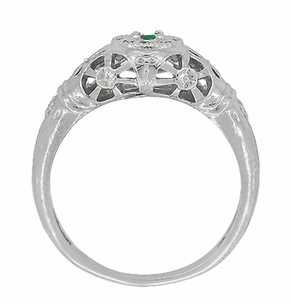 Art Deco Filigree Emerald Ring in 14 Karat White Gold - Item R428WE - Image 4