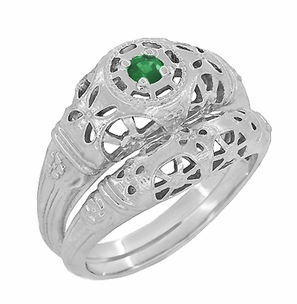 Art Deco Filigree Emerald Ring in 14 Karat White Gold - Item R428WE - Image 5