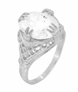 Art Deco Filigree Engraved Oval Cubic Zirconia ( CZ ) Ring in Sterling Silver - Item SSR157CZ - Image 2