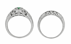 Art Deco Filigree Emerald Ring in 14 Karat White Gold - Click to enlarge