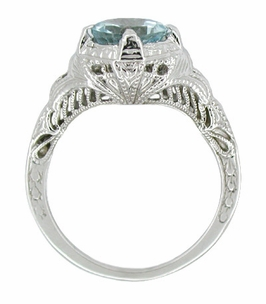 Aquamarine Filigree Engraved Engagement Ring in 14 Karat White Gold - Click to enlarge